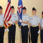 Photo by Capt. Jeri Gonwa, WIWG PAO:  The 2012 Timmerman Composite Squadron Color Guard Team:  C/A1C Jacob Fuiten, C/MSgt Carter Welsh, C/Amn Andrew Parr, C/Amn Amber Wycklendt and C/Amn Avery Currie.