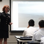 Photo by Lt. Col. Steve Michaels - Captain Luella Dooley-Menet, a Blackhawk helicopter pilot, speaks with the Milwaukee Composite Squadron #5 cadets about her experiences.